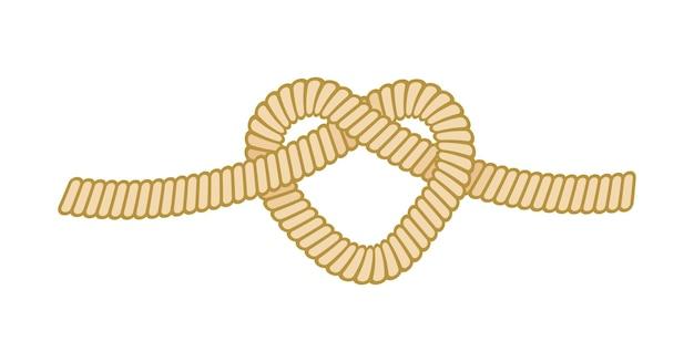 Sea rope worh overhand nodo, nautico marine cord loop legato isolato su sfondo bianco. corda da vela navi, filo