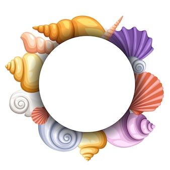 Mare rotondo, concetto di conchiglie colorate. oggetti nel cerchio bianco, colore cockleshell esotico, illustrazione