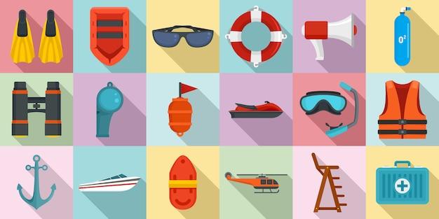 Set di icone di sicurezza del mare