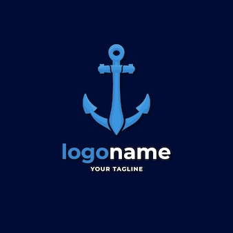Stile sfumato del logo dell'ancora della nave marittima per l'azienda di navi e trasporti