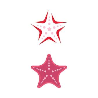 Icona del pesce della stella di mare progettazione dell'illustrazione di vettore del modello