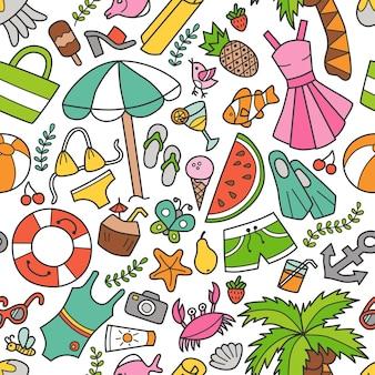 Modello senza cuciture di mare ed estate in stile doodle. disegnato a mano