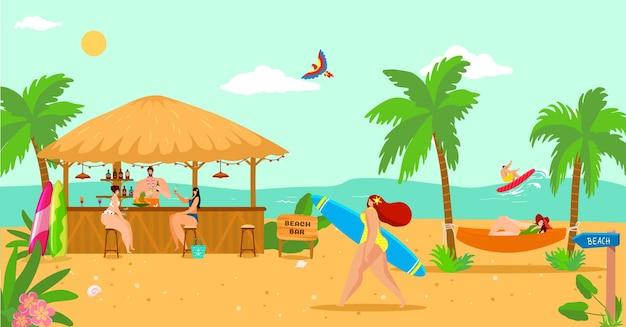 Vacanze estive di mare all'illustrazione del bar sulla spiaggia