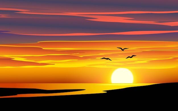 Paesaggio di tramonto del mare con gli uccelli