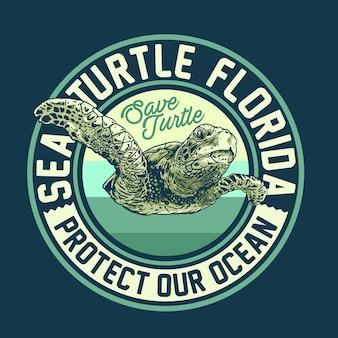Sea turtle campaign design concept Vettore Premium