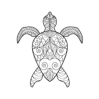 Tartaruga di mare con libro da colorare ornamento