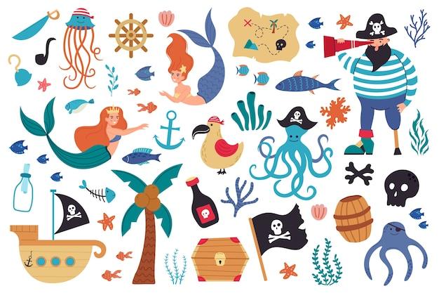 Illustrazione di creature sottomarine di mare