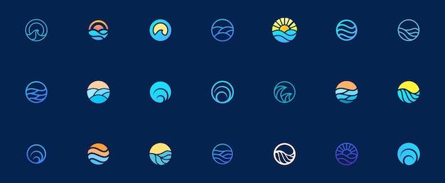 Insieme di design del logo dell'onda dell'acqua di mare, elemento grafico per il logo