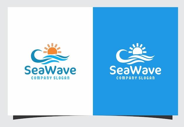 Design del logo dell'onda del mare
