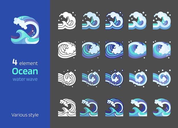 Elemento dell'illustrazione di vettore dell'onda del mare progettazione grafica della linea dell'oceano in flatsilhouettedetailed icon