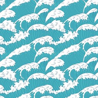 Modello senza cuciture delle onde del mare. linee d'onda dell'acqua dell'oceano, onde del mare della curva infuriata, illustrazione del fondo di struttura della tempesta delle onde della spiaggia di estate. onda senza giunte del mare, reticolo di struttura della curva dell'acqua