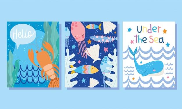 Sotto il mare, ampia copertura marina e brochure di banner di conchiglia di balena aragosta di cartone animato paesaggio marino