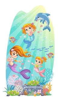 Sfondo di fauna marina con sirene