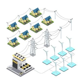Concetto di infographics del ciclo di alimentazione del villaggio verde dell'elica di energia eolica del mare.