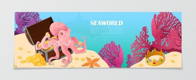 Modello dell'insegna di bellezza naturale della natura di vita sottomarina del mondo di mare