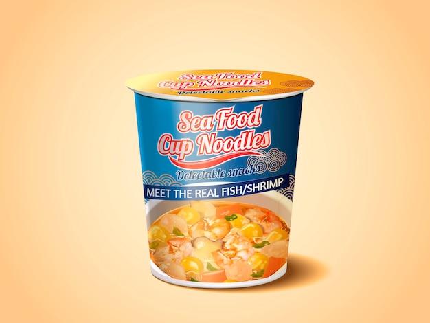 Tagliatelle ai frutti di mare, design della confezione del prodotto con spaghetti istantanei