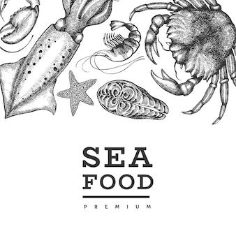 Modello di disegno di frutti di mare. illustrazione di frutti di mare disegnati a mano.