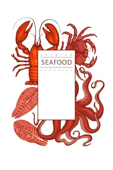 Modello di disegno di frutti di mare. illustrazione di frutti di mare di vettore disegnato a mano. banner di cibo in stile inciso. sfondo di animali marini retrò
