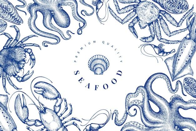Modello di disegno di frutti di mare. illustrazione di frutti di mare di vettore disegnato a mano. banner di cibo in stile inciso. sfondo di animali marini d'epoca