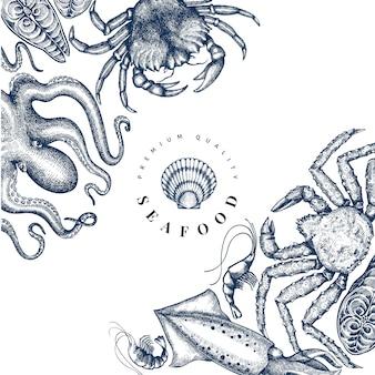 Modello struttura frutti di mare. illustrazione di frutti di mare di vettore disegnato a mano.