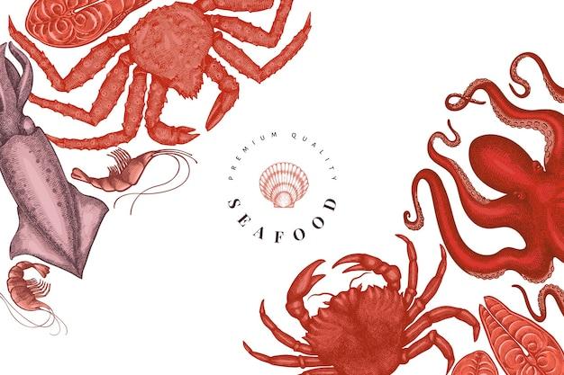 Modello di disegno di frutti di mare