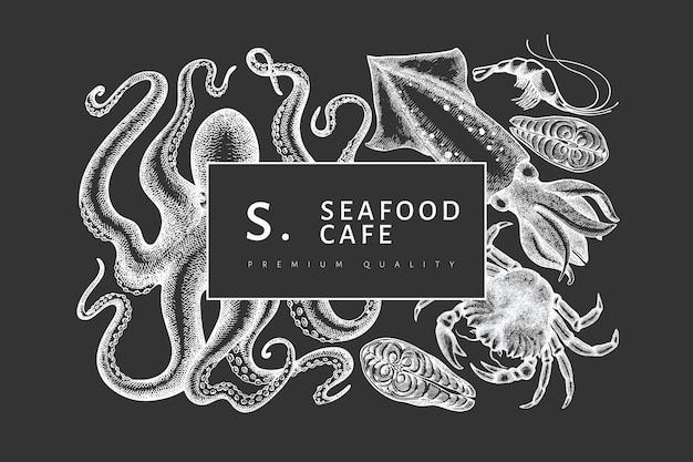 Modello di disegno di frutti di mare.