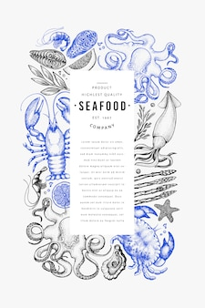 Modello di design di frutti di mare e pesce