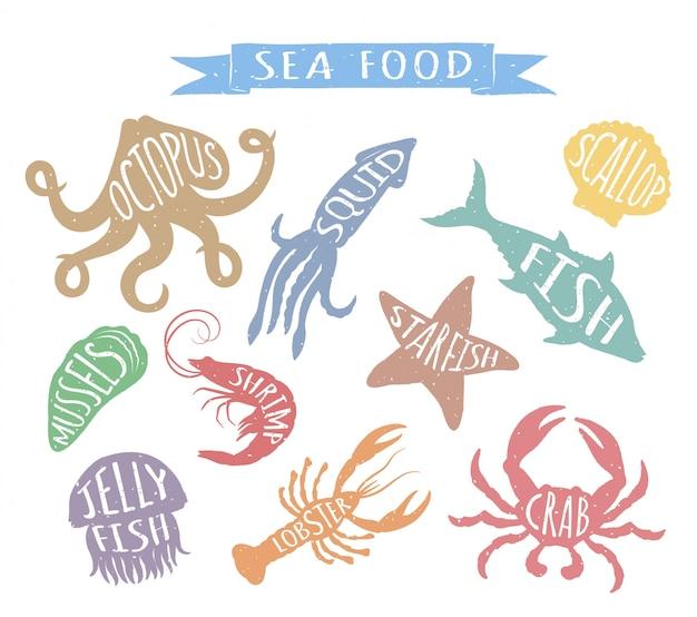 Illustrazioni disegnate a mano dei frutti di mare isolate su fondo bianco.