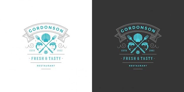 Logo di frutti di mare o segno pesce mercato e ristorante sagoma pesce modello