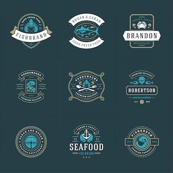 Loghi o segni di frutti di mare impostano il mercato del pesce e il ristorante