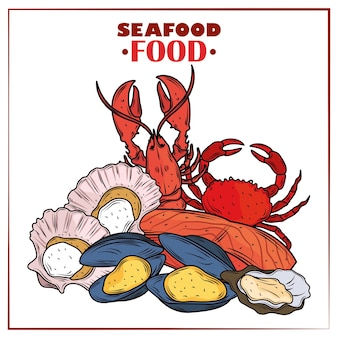 Menu di pesce gourmet granchio fresco aragosta ostriche cozze e poster di vongole