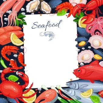 Modello di menu di pesce per cucinare ricette. illustrazione con pesce, granchio, aragosta, capesante, gamberetti e così via e così via.