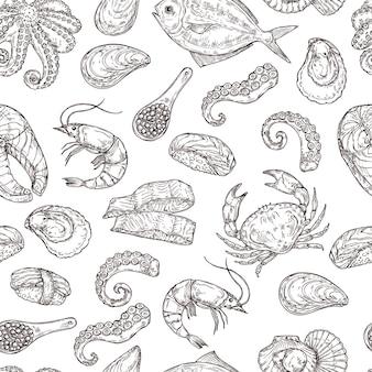 Modello di frutti di mare. vita di mare inchiostro disegnato a mano. schizzo cibo giapponese, incisione ingredienti oceano vintage