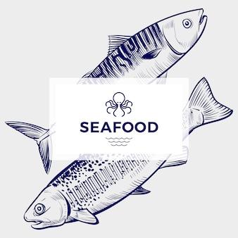 Modello dell'insegna del ristorante o del caffè dei frutti di mare con il pesce disegnato a mano dell'incisione