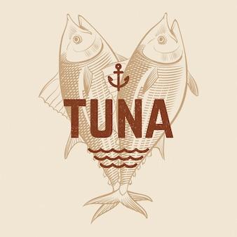 Modello di ristorante o bar di frutti di mare con pesce incisione disegnata a mano