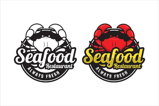 Logo premium del granchio del ristorante di pesce