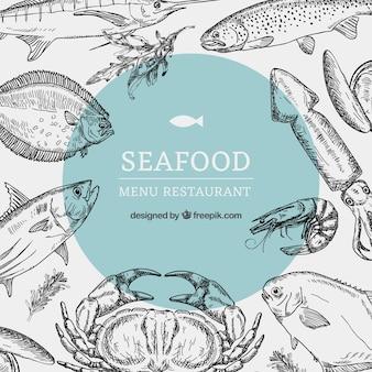 Modello di menu ristorante di pesce