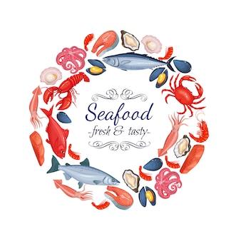 Cornice rotonda frutti di mare
