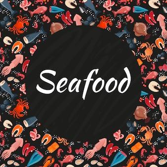 Pattern di sfondo senza soluzione di continuità di frutti di mare
