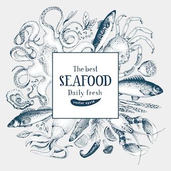Illustrazione di cornice vettoriale di frutti di mare