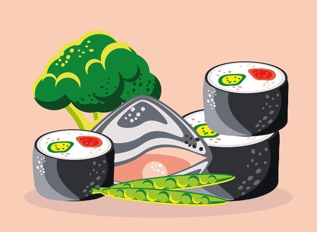 Frutti di mare verdure broccoli sushi cibo