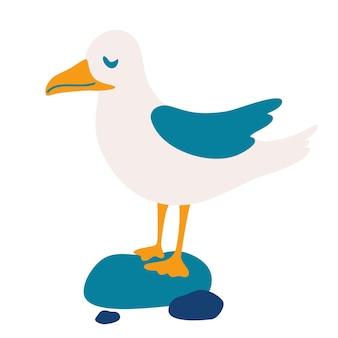 Gabbiano. personaggio dei cartoni animati di uccelli divertenti. può essere utilizzato per la stampa, come poster, stampa di abbigliamento per bambini, stampa di design grafico. illustrazione vettoriale.