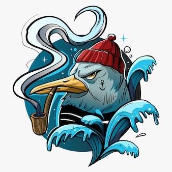 Illustrazione del marinaio del gabbiano.