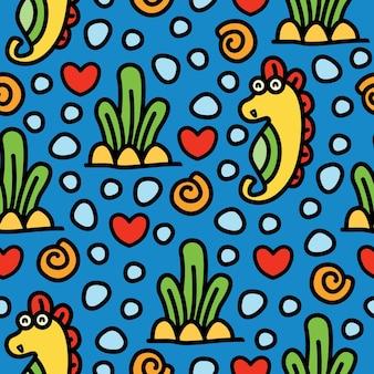 Cavalluccio marino cartoon doodle seamless pattern design