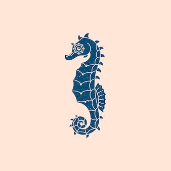 Logo di cavalluccio marino in uno stile semplice e minimale alla moda. icona di animali marini per sito web, stampa di t-shirt, tatuaggi, post sui social media e storie