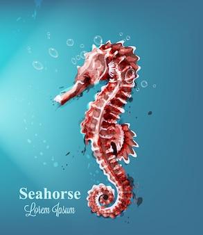 Acquerello cavalluccio marino con bolle