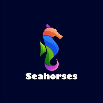 Design del logo colorato con cavallucci marini