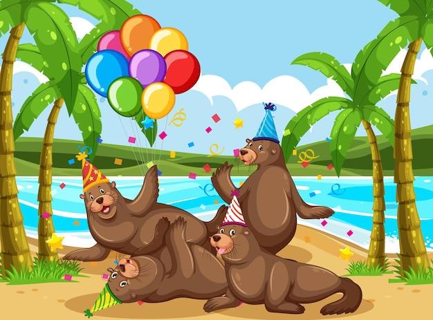 Gruppo di foche nel personaggio dei cartoni animati di tema del partito su sfondo spiaggia