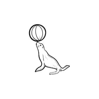 Guarnizione icona di doodle di contorni disegnati a mano. illustrazione di schizzo di vettore animale del circo per stampa, web, mobile e infografica isolato su priorità bassa bianca.