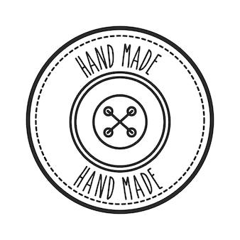 Timbro di sigillo del concetto fatto a mano con l'icona del pulsante